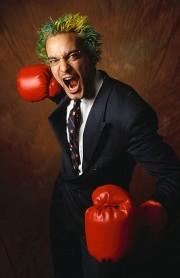 Stressed corporate boxer