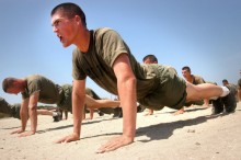 Soldier doing pushups in military fitness training