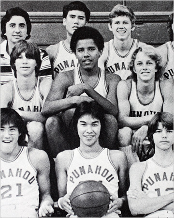 Barack Obama with his basketball team at Punahou School in Honolulu