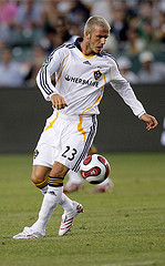 David Beckham playing football for L.A. Galaxy