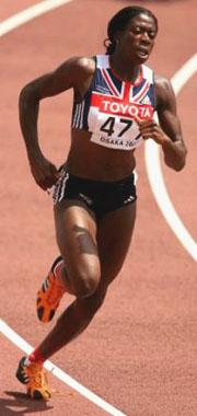 Christine Ohuruogu running on the track