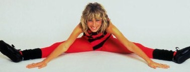 1980s Aerobics Student Stretches in Lycra