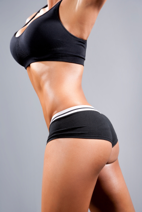 Female bodybuilder with a pear shaped body