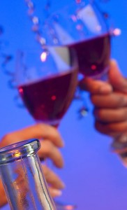wine glasses clinking at a party