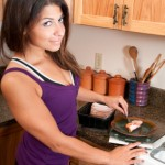 Female bodybuilder preparing protein meal