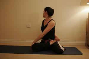 Seated Twist in Half Lotus – Bharadvajasana Twist II