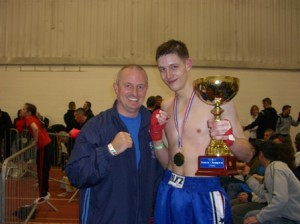 Mike Brooks with Coach Tony Willis from 5 Elements Martial Arts.