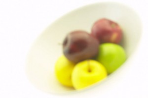 Apples in white bowl