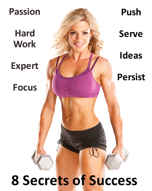 Fit woman with dumbbells wearing pink sports bra and black shorts