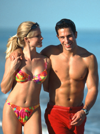 fitness couple on the beach