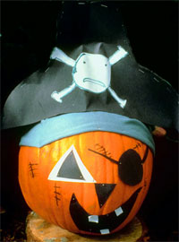 Pumpkin dressed as a Motley Pirate