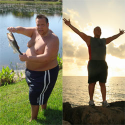 Pete Ajello before and after his weight loss - on a fishing trip and then celebrating on the beach