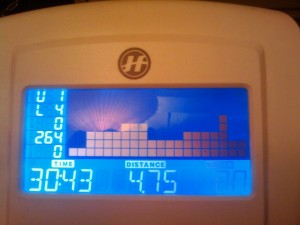 Calories recorded on an elliptical trainer