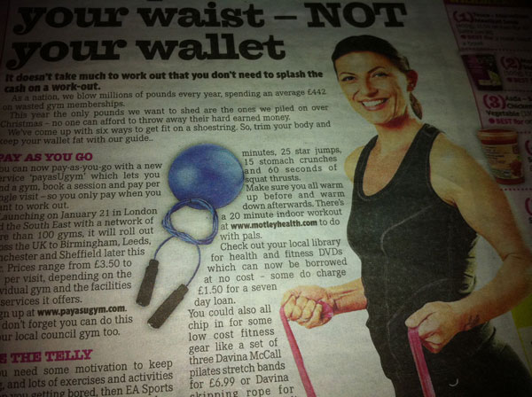 Newspaper article from The Mirror about exercise and weight loss