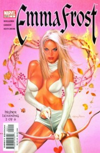 Marvel comic cover showing Emma Frost in white with a cupid bow and arrow.