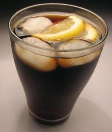 glass of sugary soft drink