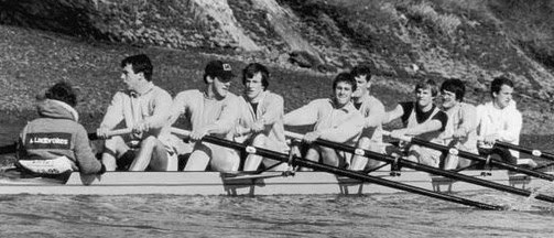 Hugh Laurie rowing for Cambridge in 1980