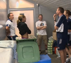 Jessica Ennis taking an ice bath in a bin