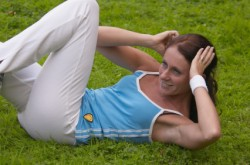 Bicycle crunches in the park
