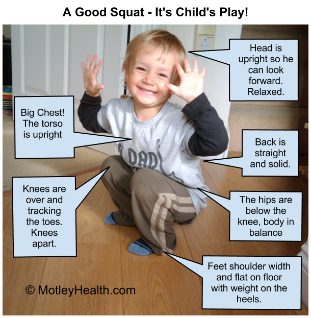 Air Squat form with a 2 1/2 year old