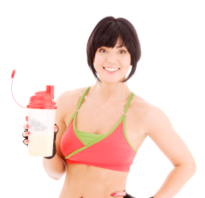 woman drink protein shake