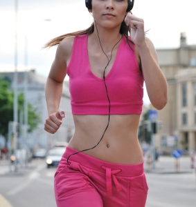 Running woman in pink