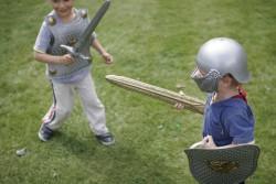 Kids playing knights