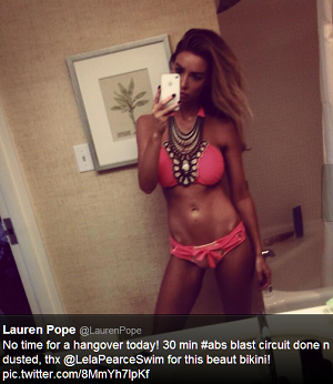 Lauren Pope selfie from her Twitter page. After a gym workout in California