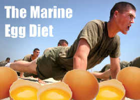 A marine doing push ups surrounded by eggs