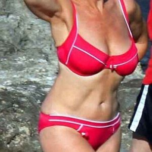 Dame Helen Mirren in a red bikini