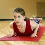 Woman in a yoga class.
