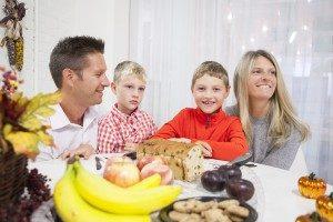 Family having dinner on Thanksgiving