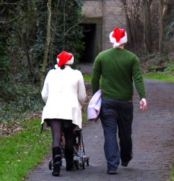 Family out walking at Christmas
