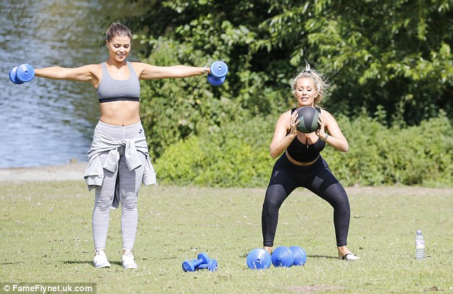 TOWIE Kate Wright and Chloe Lewis Park Weight Workouts