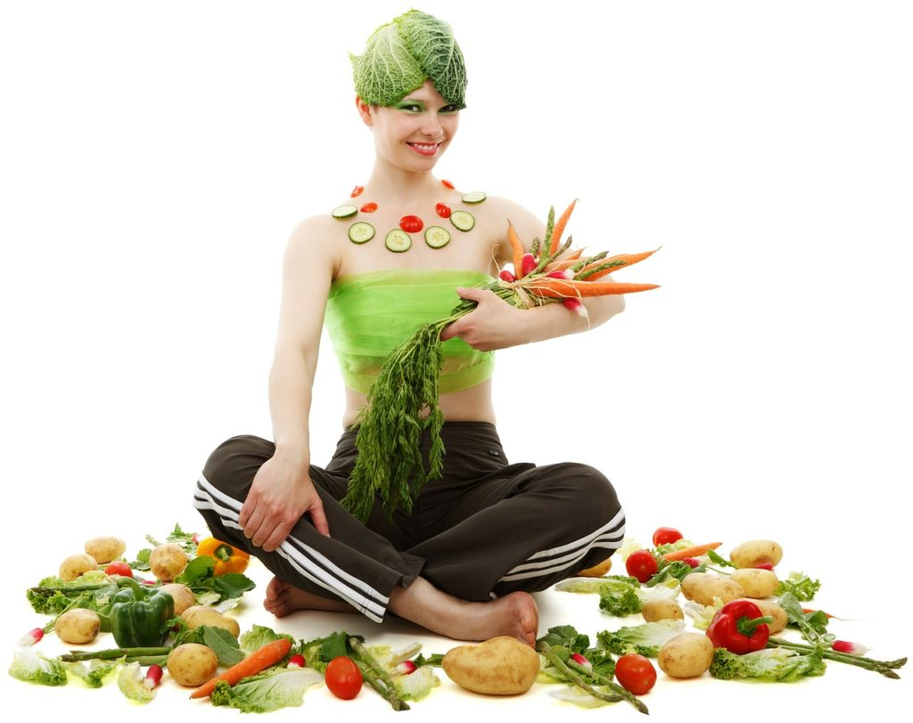 woman with fiber vegetables