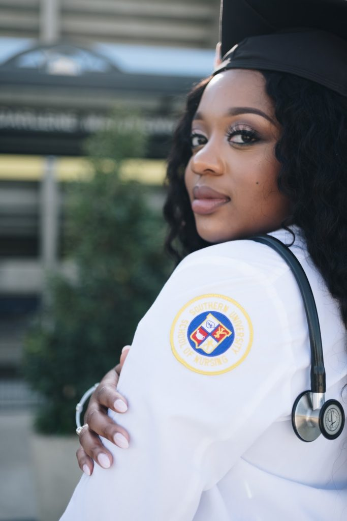 a nurse looking over her shoulder