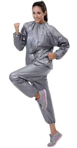 woman running in sauna suit