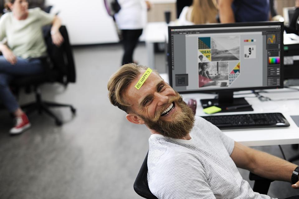 fit man at a desk