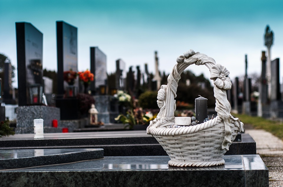 cemetery basket on grave