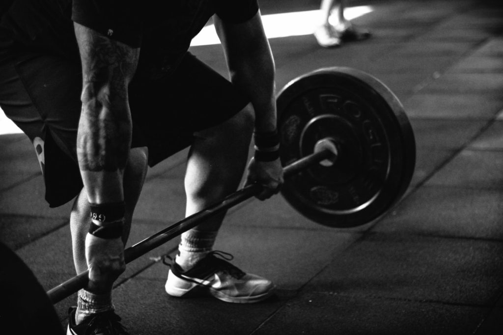 weight lifting deadlift black and white photo