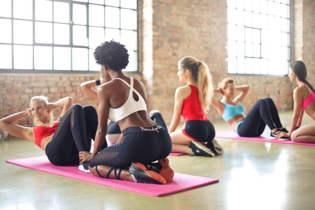 women working out in a fitness class