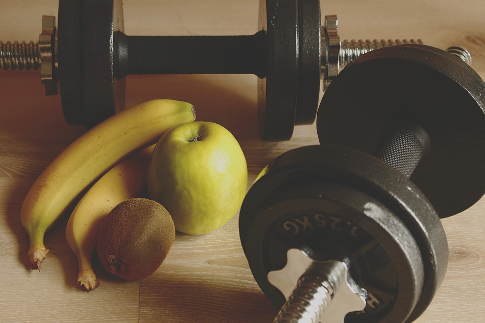 fruit and dumbbells