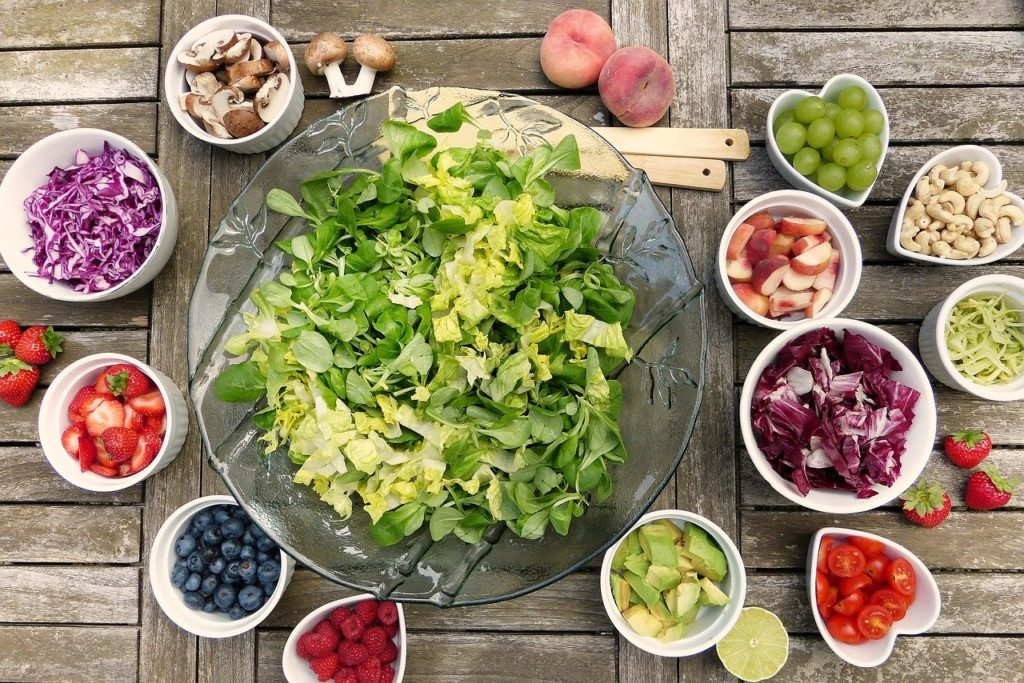 healthy food on the home table