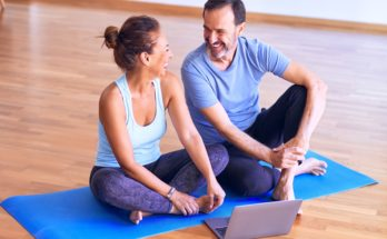 seniors yoga couple