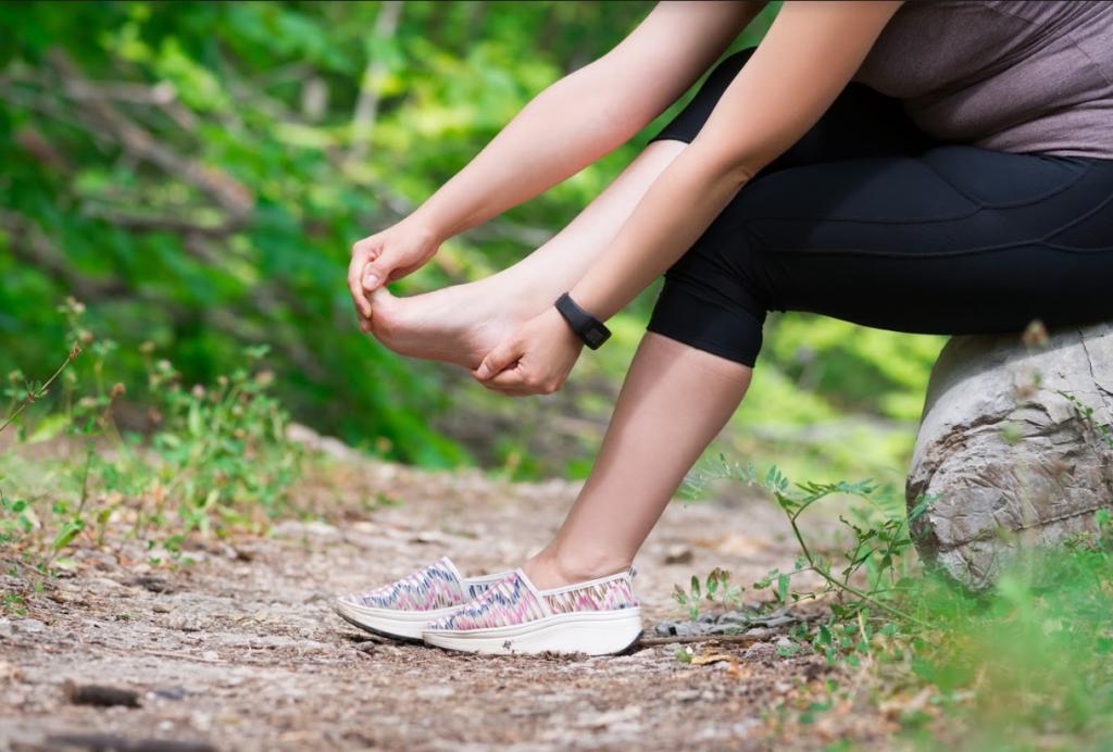 woman outside suffering from heel pain