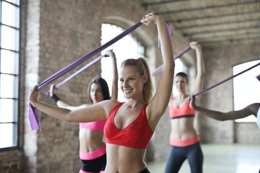 women doing fun exercise