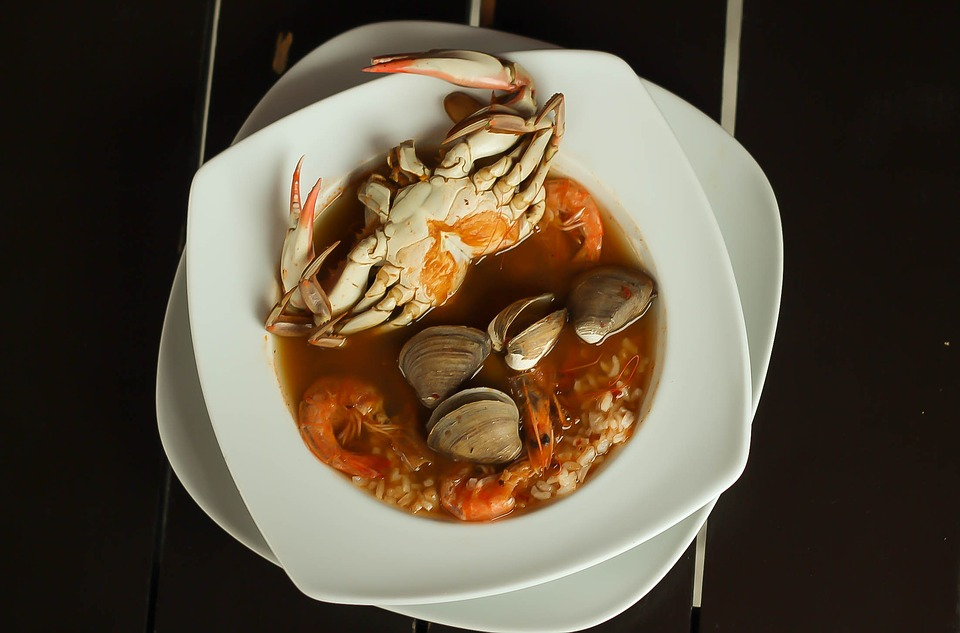 crab and mussels