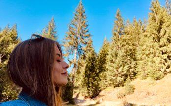 woman breathing clean fresh air